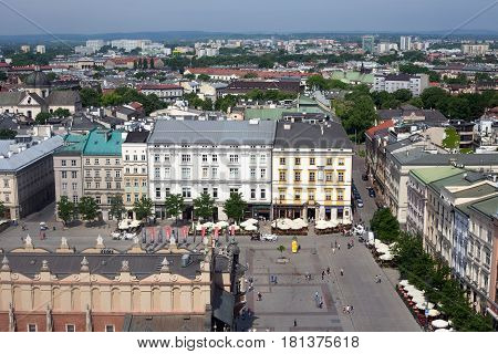 KRAKOW, POLAND - MAY 29, 2016: Aerial view of the north part of the Main Market Square of Krakow the old buildings and the Spiski palace.