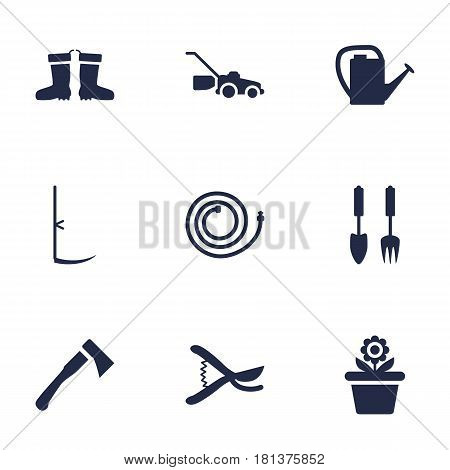 Set Of 9 Farm Icons Set.Collection Of Lawn Mower, Rubber Boots, Pruner And Other Elements.