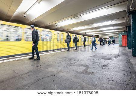 Berlin Germany - april 12 2017: Subway train arriving at train station (Wittenbergplatz) in Berlin Germany.