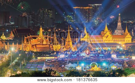Fireworks On Father's Day At Emerald Buddha, Bangkok, Thailand