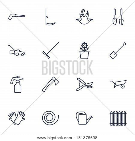Set Of 16 Household Outline Icons Set.Collection Of Grass-Cutter, Firehose, Secateurs And Other Elements.