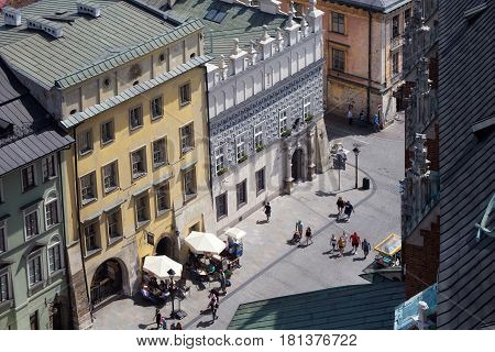 KRAKOW, POLAND - MAY 29, 2016: Aerial view of the roofs of houses in the eastern historic part of Krakow. Poland. View from St Mary's Cathedral.
