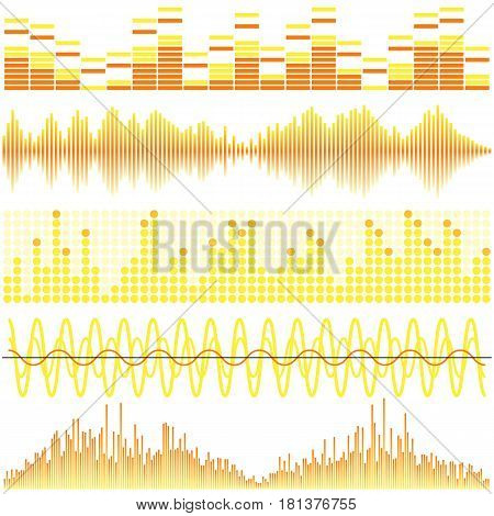 Vector set of yellow sound waves. Audio equalizer. Sound & audio waves isolated on white background.