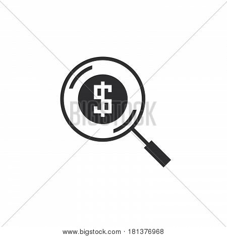 Money Search Icon Vector, Solid Logo, Find Funding Pictogram Isolated On White, Pixel Perfect Illust