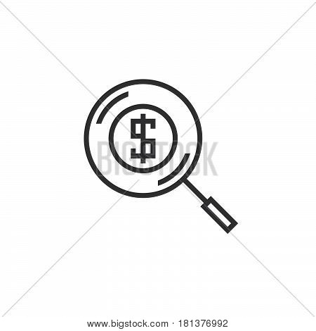 Money Search Line Icon, Find Funding Outline Vector Logo, Linear Pictogram Isolated On White, Pixel
