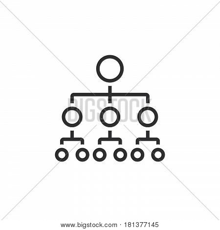 Organizational Chart Line Icon, Outline Hierarchy Vector Logo, Linear Pictogram Isolated On White, P