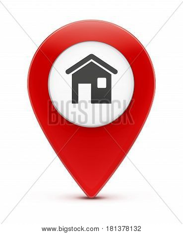 Vector illustration of real-estate concept with glossy red map location pointer icon