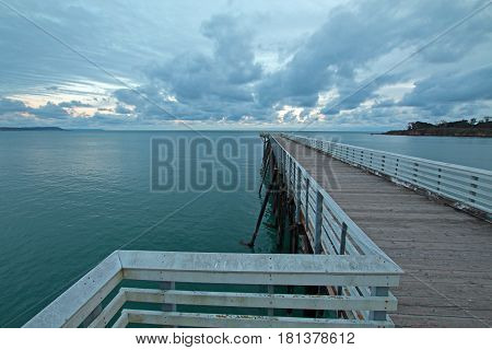 San Simeon Public Pier at sunset on the Central Coast of California US of A