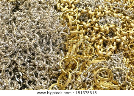 Many Chains In Gold And Silver Material