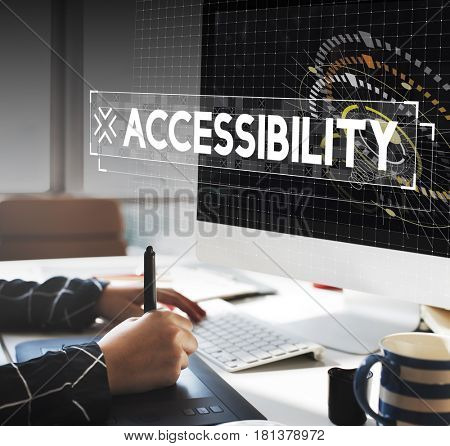 Graphic designer working with accessibility word graphic popup
