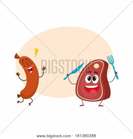 Funny happy sausage and meat steak characters, fast food concept, cartoon vector illustration with space for text. Sausage and meat steak characters, mascots, happy and excited