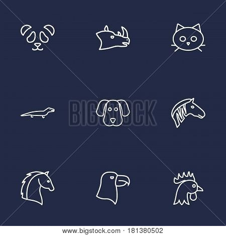 Set Of 9 Alive Outline Icons Set.Collection Of Rhino, Dog, Feline Bear And Other Elements.