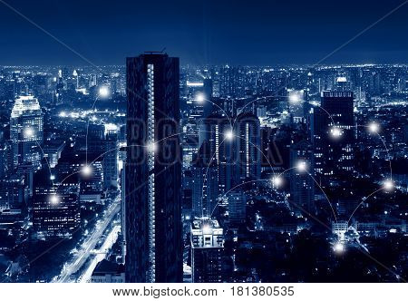 Network And Connection Technology Concept Of Skyscrapers In Sathorn District , Bangkok, Thailand