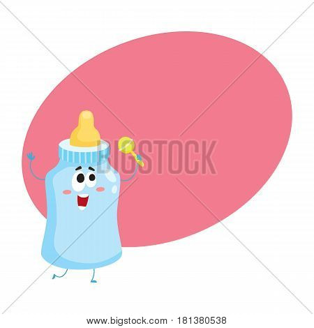 Cute and funny baby milk, feeding bottle character with human face holding rattle toy, cartoon vector illustration with space for text. Milk bottle character, mascot, child care concept