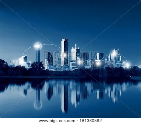 Network And Connection Technology Concept Of Dallas Skyline Reflection At Dawn, Downtown Dallas, Tex