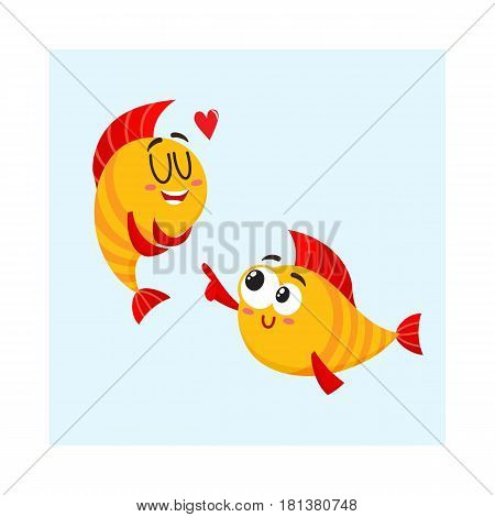 Two funny, smiling golden fish characters, one showing love, another pointing with fin, cartoon vector illustration isolated on white background. Yellow fish characters, mascots, love and laughing