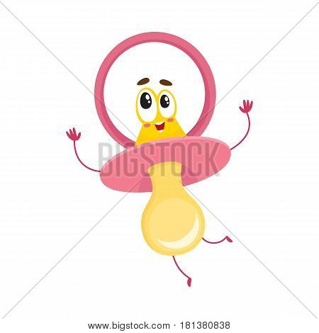 Cute and funny baby dummy, pacifier character with human face, excited expression, cartoon vector illustration isolated on white background. Baby pacifier, dummy character, mascot, child care concept