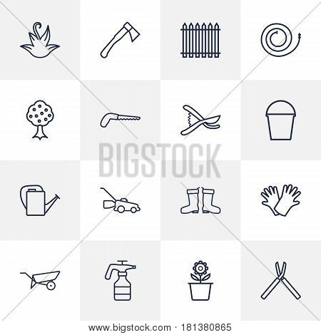 Set Of 16 Horticulture Outline Icons Set.Collection Of Waterproof Shoes, Garden, Safer Of Hand Elements.