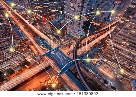 Network and Connection Technology Concept of Sathorn Intersection BTS Chong nonsi Downtown Bangkok Thailand
