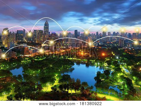 Network and Connection Technology Concept of Lumpini Park in downtown Bangkok Thailand