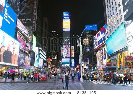 May16 2016 Times Square crowds. The site is regarded as the world's most visited tourist attraction