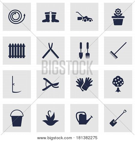 Set Of 16 Horticulture Icons Set.Collection Of Watering Can, Pruner, Garden Hose And Other Elements.