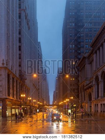 A Rainy Day In Chicago, Illinois, Usa