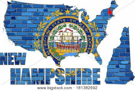 New Hampshire on a brick wall - Illustration