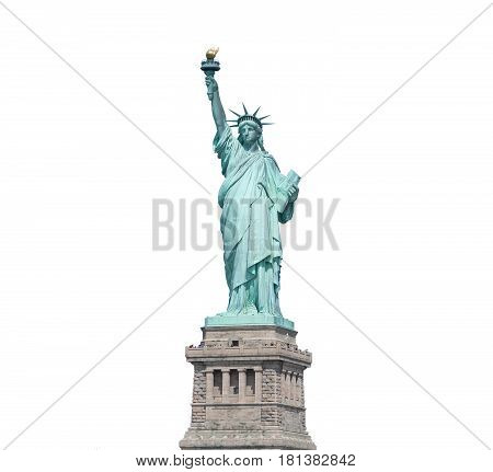 Statue Of Liberty Isolated On White Clipping Path Inside In New York City, Usa