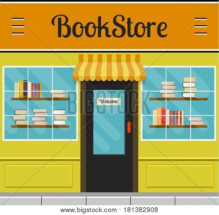 Bookshop facade in flat style. EPS10 vector illustration of city public building square architecture. Small business store front design.