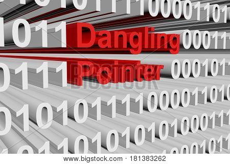 Dangling pointer in the form of binary code, 3D illustration