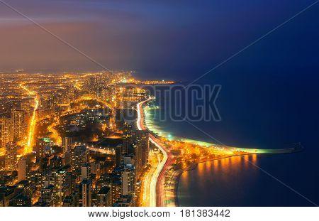 Michigan Lake Chicago at night illinois USA