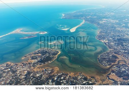 Aerial view on the eastern coast of Duxbury. Mendra river Jones River in Massachusetts.Typical landscape of islands and beaches. USA