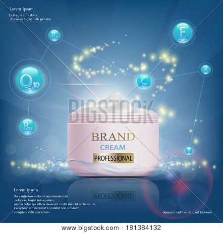 Cream with vitamins serum and coenzyme Q10. Cosmetic ads template. Stock vector illustration.