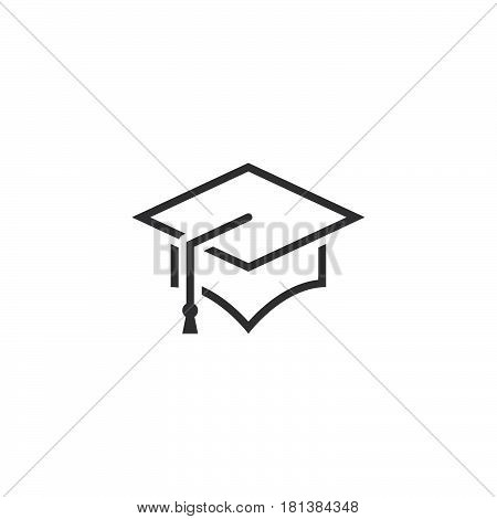 Graduation Cap Line Icon, Outline Mortarboard Vector Logo, Linear Pictogram Isolated On White, Pixel