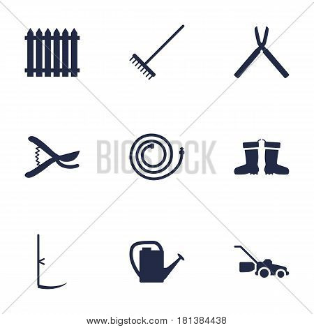 Set Of 9 Horticulture Icons Set.Collection Of Garden Hose, Watering Can, Rake And Other Elements.