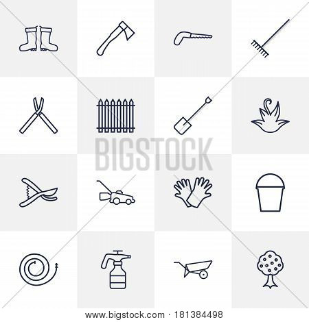 Set Of 16 Household Outline Icons Set.Collection Of Spade, Atomizer, Safer Of Hand Elements.