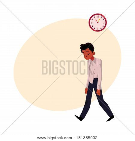 Black, African American businessman, one tired and stressed, cartoon vector illustration with space for text.