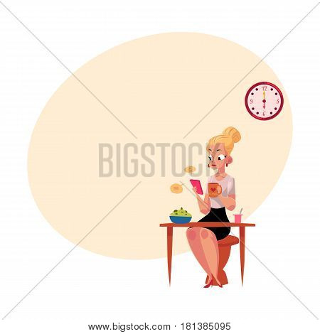 Young blond businesswoman using smartphone, having breakfast, drinking coffee before going to work, cartoon vector illustration with space for text. Work day of businesswoman, business woman