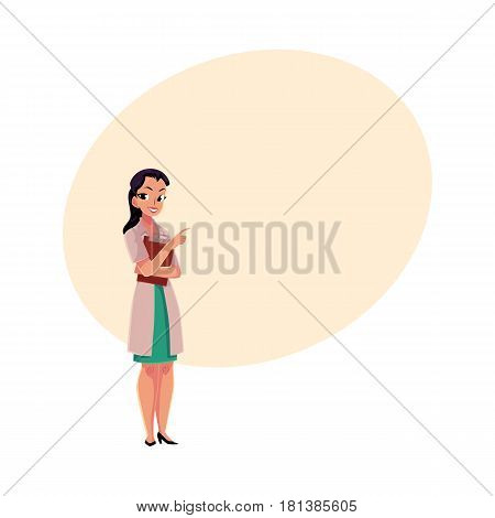 Female, woman doctor in white medical coat holding clipboard, pointing to the right, cartoon vector illustration with space for text. Full length portrait of female doctor with clipboard