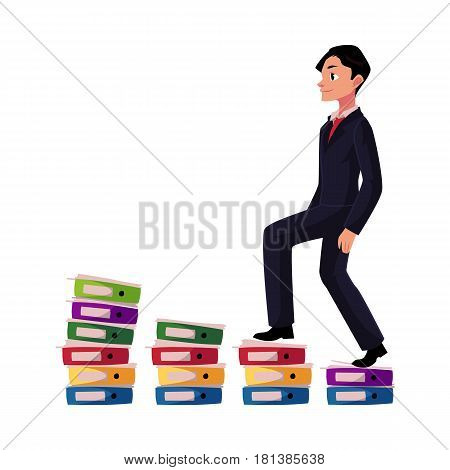 Young businessman climbing piles of documents, career ladder concept, cartoon vector illustration isolated on white background. Document folders like corporate ladder, businessman making career