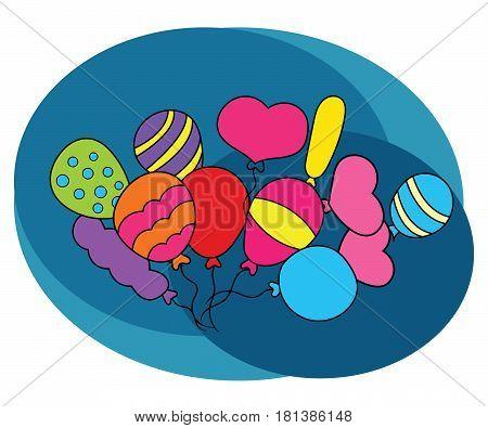 Balloons design set. Cartoon free hand draw doodle vector illustration.