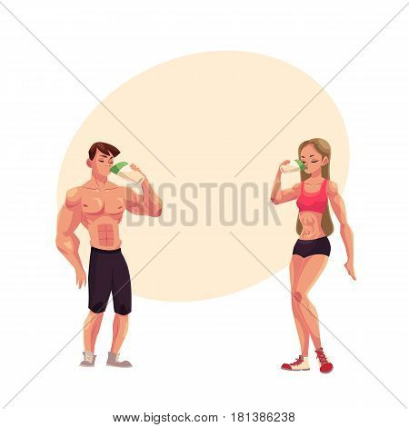 Man and woman bodybuilders, weightlifters drinking protein shake after training, cartoon vector illustration with space for text. Full length portrait of man and woman drinking protein