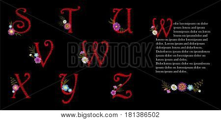 Embroidery Vintage Latin English Alphabet Set. Initial Drop Cap Decorative Flowers. Capital Font Orn