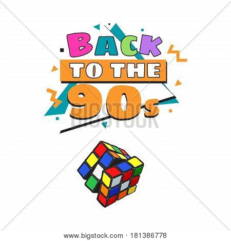 Memphis retro style back to the 90s poster template with cube combination puzzle on white background. Back to the 90s party poster, banner design with geometric details and Rubik cube