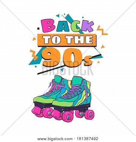 Memphis retro style back to the 90s poster, banner template with roller skates on white background. Back to the 90s party invitation, poster, banner design with geometric details and roller skates