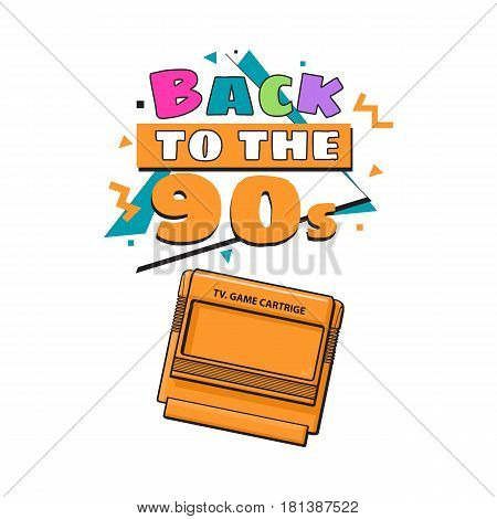 Memphis retro style back to the 90s poster template with TV game cartridge on white background. Back to the 90s party invitation, poster, banner design with geometric details and TV game cartridge