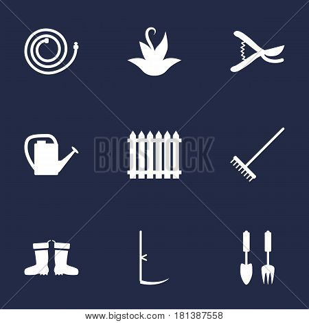 Set Of 9 Horticulture Icons Set.Collection Of Garden Hose, Rubber Boots, Plant And Other Elements.
