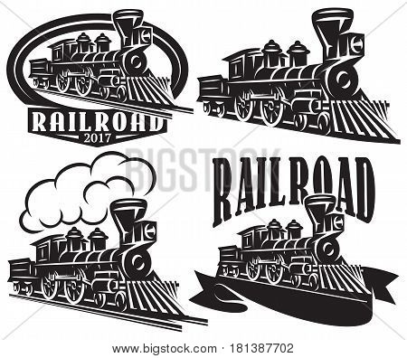 Set of vector logo in vintage style with locomotives. Emblems labels badges or patterns on a retro railroad theme