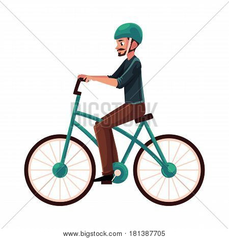 Young man, guy riding urban bicycle, cycling in helmet, cartoon vector illustration isolated on white background. Full length, side view portrait of young man riding a bicycle, cycling